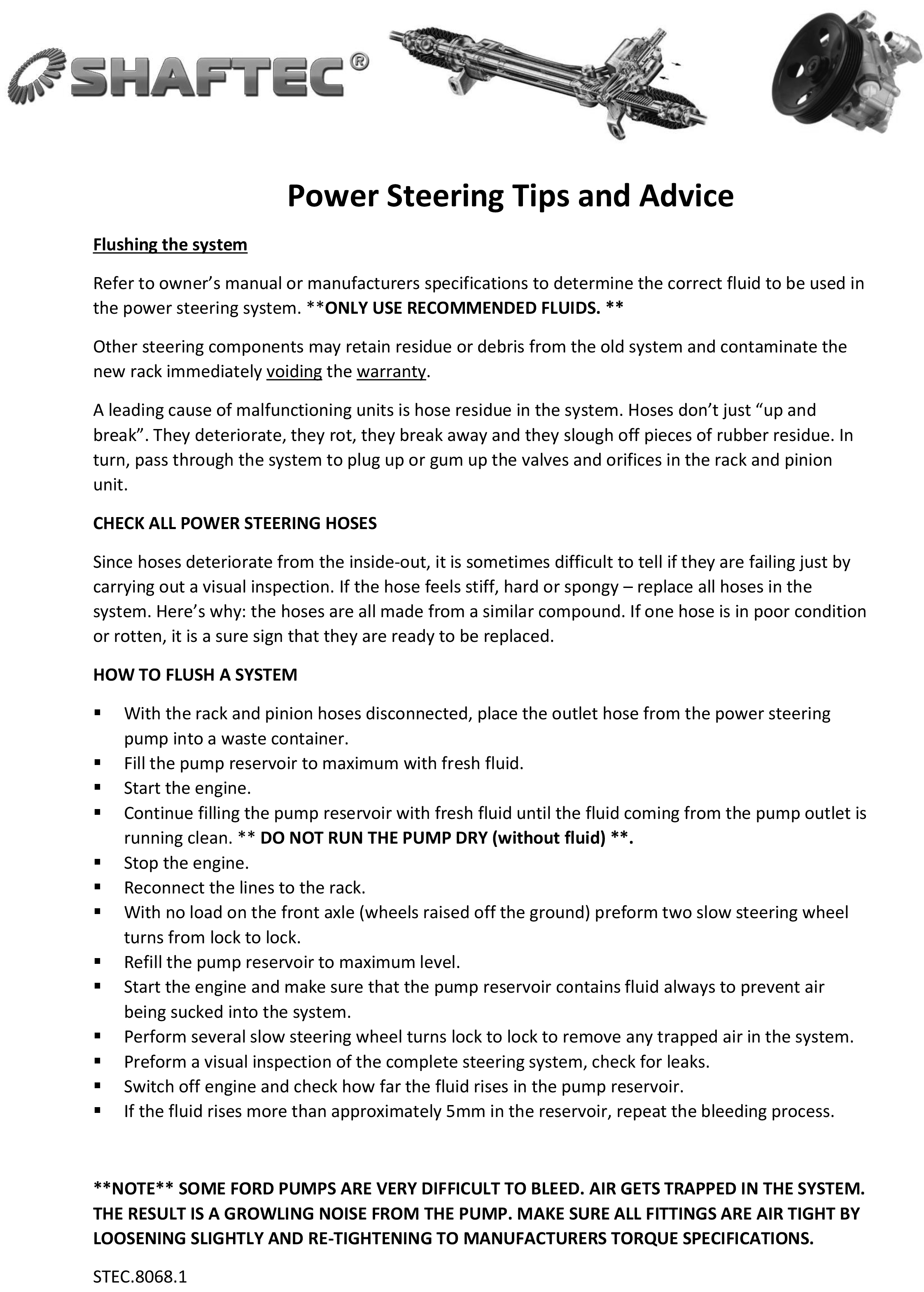 Power Steering Tips and Advice